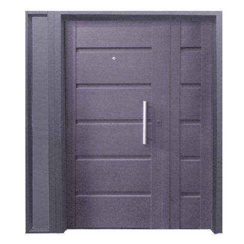 7011-120+5000 Puerta y media doble chapa inyectada bastonada con Portada Lateral Exterior Chapa Nº 20. De 1.20 x 2.00m