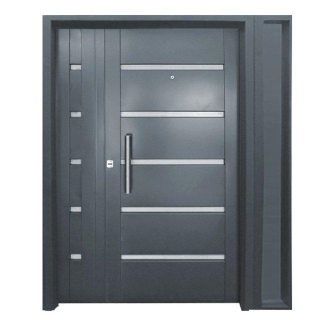 7031-120 Puerta y media doble chapa inyectada bastonada con Apliques símil color aluminio. Portada Lateral Exterior Chapa Nº 18. De 1.20 x 2.00m